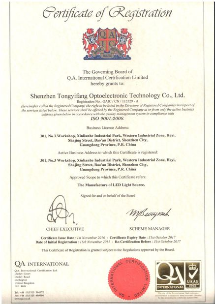 Porcellana Shenzhen Tongyifang Optoelectronic Technology Co., Ltd. Certificazioni
